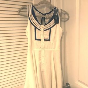 White and Navy Blue Sailor Dress